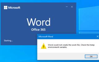 Исправлено: Word не мог создать рабочий файл при открытии документов Word