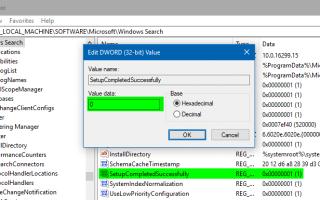 Сброс и восстановление индекса поиска полностью в Windows