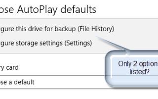 Восстановите отсутствующие записи или обработчики автозапуска в Windows 10