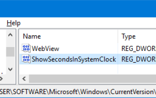 Как отображать секунды на часах панели задач в Windows 10