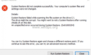 FIX System Restore Failed 0x81000204 Ошибка (решена)