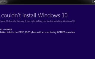 Код ошибки обновления до Windows 10 0xc1900101-0x30018 |