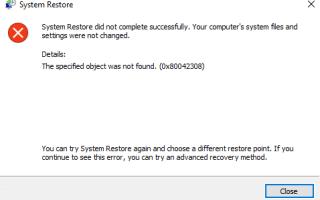 Ошибка восстановления системы 0x80042308 Не удалось найти объект