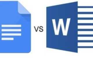 Документы Google против Microsoft Word