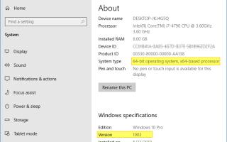 Как найти номер сборки Windows 10, версию, издание и битность