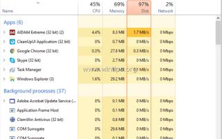 Использование диска FIX 100% проблема в Windows 10/8 (решено)