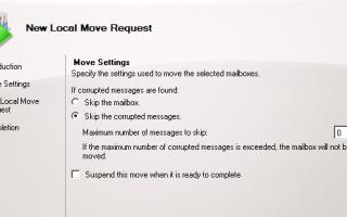 Ошибка: этот почтовый ящик превысил максимальное количество поврежденных элементов, которые были указаны для этого запроса на перемещение.
