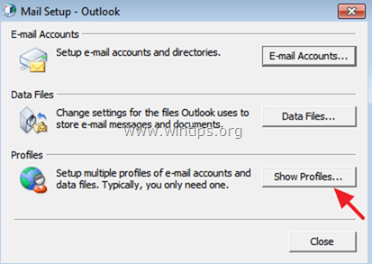 показать профили outlook